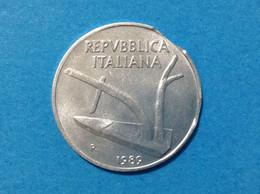 ITALIA REPUBBLICA MONETA 10 LIRE SPIGHE 1989 VARIETA' ERRORE DIFETTO CONIO METALLO MANCANTE SUL BORDO - 10 Lire