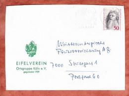 Zudruckumschlag Eifelverein, Holbein, MS Pinguine Zoo Koeln, Nach Stuttgart Ca. 1974 (5305) - Brieven En Documenten