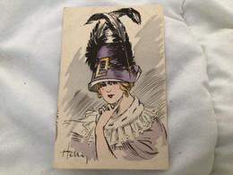Illustrateur Henri Ou Heni, Femme Chapeau à Plumes - Otros Ilustradores