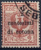 TERRE REDENTE TRENTO E TRIESTE 1919 - SOPR. 'CENTESIMI DI CORONA' C. 2 SU C. 2 - USATO / USED ⦿ - SASSONE 2 - Trento & Trieste