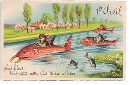 """L330A1300 - Ier Avril - Dessin De Chats Humanisés, Sur Des Poissons Bateaux """"Nous Filons..."""" - M.D Série 4450 - 1 De April (pescado De Abril)"""
