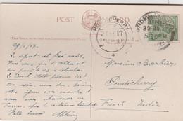 """INDE ANGLAISE 1917 CARTE POUR LE BUREAU FRANCAIS DE PONDICHERRY BATEAU """"OSS NOVARA"""" - 1911-35 King George V"""
