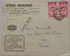 Cover From Syria To France National Coat Of Arms With An Eagle Stamps 1952 With Nice Reverse - Syria