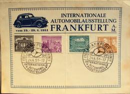 Automobile Ausstellung, 1951, Frankfurt, Sonderstempel, 4 Marken Versand DE 4,0 € Einschreiben - Covers & Documents