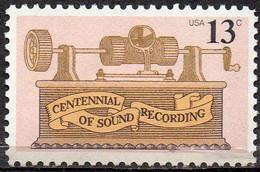 USA 1977 13¢ Centennial Of Sound Recording - Ungebraucht
