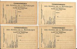 Un Lot De 4 > CARTE POSTALE MILITAIRE En FRANCHISE - Modèle A2 (soldats Au Dépôt Ou à Demeure) > Vente Directe X - Oorlog 1914-18
