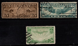 S001A - USA, 1926-1939 - SC#: C8,C21,C39 - USED - PLANES - 1a. 1918-1940 Used