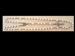 CHAP-251 Chapelet Ancien D'enfants Grains Ovoïdes Céramique Blanche,christ En Ag L=36cm - Godsdienst & Esoterisme