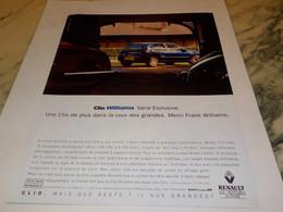 ANCIENNE PUBLICITE  CLIO WILLIAMS  DE RENAULT  1993 - Voitures