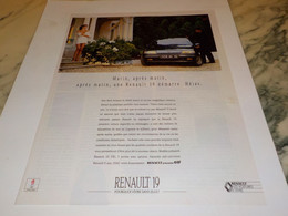 ANCIENNE PUBLICITE MATIN APRES MATIN VOITURE RENAULT 19 1994 - Voitures
