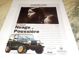 ANCIENNE PUBLICITE JEEP WRANGLER LIMITED DE RENAULT 1992 - Voitures
