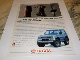 ANCIENNE PUBLICITE LAND CRUISER DE  TOYOTA  1991 - Voitures