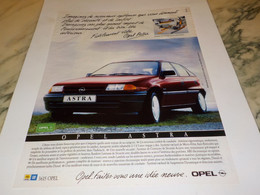 ANCIENNE PUBLICITE VOITURE OPEL ASTRA 1991 - Voitures