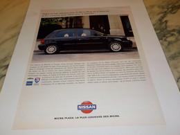 ANCIENNE PUBLICITE NOUVELLE MICRA PLAZA  NISSAN  1995 - Cars