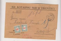 CROATIA HUNGARY 1916 VIROVITICA Nice Covr To Zagreb ,postage Due - Croatia
