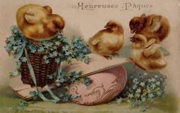 Belle Illustrée Gaufrée : Poussins Sur Un  Oeuf Aux Myosotis - Ostern