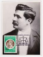 1970 URUGUAY Maxi Card Real Photo Dr Evaristo CIGANDA LEY DE JUBILACIONES BALANZA BALANCE JUSTICE Gerechtigkeit - Uruguay