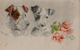 Belle Illustrée Granitée , Aquarelle Signée BERNET : Deux Fox-terriers Et Des Roses - Chiens