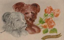 Belle Illustrée Granitée , Aquarelle Signée BERNET : Deux Sky- Terriers Et Des Roses - Chiens