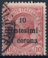 TERRE REDENTE TRENTO E TRIESTE 1919 - SOPR. 'CENTESIMI DI CORONA' C. 10 SU C. 10 - USATO / USED ⦿ - SASSONE 4 - Trento & Trieste