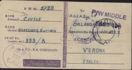 Guerre 40 Interné Civil Camp POW Prisoner Of War 353 EAF Kenya Camp Gilgil CAD POW EAC 1943 FM Pour Vérone Italie - Kenya & Uganda