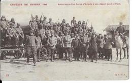 CROQUIS DE GUERRE 1914  . AMBULANCE  D UN CORPS  D ARMEE  A SON DEPART POUR LE FRONT  ( état ) - Oorlog 1914-18
