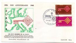 1968-- 13° Anniversaire  Pays Membres CEPT..type Europa...2 Valeurs..cachet  PARIS-75 - Gedenkstempels