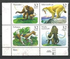 USA 1996 Yv. 2510/2513 ° Oblitéré  Prehistoire Dinosaurs Prehistoric Eohippus Mammouth Mastodonte Smilodon Cdf - Preistorici