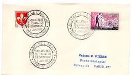 1960 -- REIMS-51 --Journée De L'Aviation..50° Anniversaire.....Poste Restante...cachet  Reims St Léonard --51 - Gedenkstempels