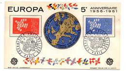 1961 -- Exposition Philatélique  EUROPA ....2 Valeurs.....cachet   PARIS-75 - Gedenkstempels