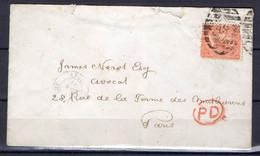 ROYAUME-UNI ! CARTE Lettre De Londres Vers Paris Avec Timbre De 1867 Et Cachet PD  En Rouge Dans Un Cercle - Covers & Documents
