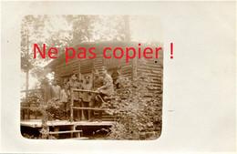 CARTE PHOTO ALLEMANDE - OFFICIERS DEVANT UN BLOCKHAUS A PROUVAIS PRES DE AMIFONTAINE AISNE - GUERRE 1914 1918 - Oorlog 1914-18