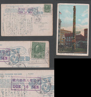 1923 PIONEER SQUARE SEATTLE Picture Postcard Due 16 Sen Canada VANCUVER To Japan - Covers & Documents