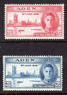 ADEN - 1946 VICTORY SET (2V) FINE MOUNTED MINT MM * SG 28-29 REF A - Aden (1854-1963)