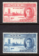 ADEN - 1946 VICTORY SET (2V) FINE MOUNTED MINT MM * SG 28-29 REF B - Aden (1854-1963)