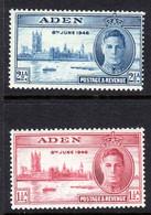 ADEN - 1946 VICTORY SET (2V) FINE MOUNTED MINT MM * SG 28-29 REF C - Aden (1854-1963)