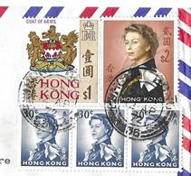 HONG KONG 1972 - CACHETS RONDS, ARMES BLASONS, REINE D ANGLETERRE BANDE DE TROIS, REINE D ANGLETERRE GRAND FORMAT, - Covers & Documents