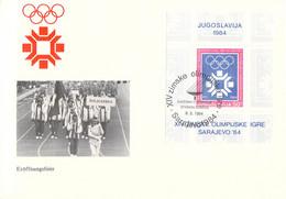 Yugoslavia Cover 1984 Sarajevo Olympic Games Souvenir Sheet - Opening Ceremony (DD33-52) - Invierno 1984: Sarajevo