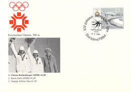 Yugoslavia Cover 1984 Sarajevo Olympic Games - Speed Skating, Women 500 M: 1. C Rothenburger (DDR), 2. K Enke - Invierno 1984: Sarajevo