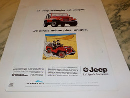 ANCIENNE PUBLICITE JEEP WRANGLER UNIQUE 1993 - Cars