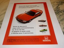 ANCIENNE PUBLICITE LA PRELUDE  VOITURE HONDA 1992 - Cars