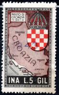 439.ITALY.WW II,FASCIST PERIOD,5 L.NATIONAL INSURANCE REVENUE,KINGDOM OF CROATIA - Marcophilia