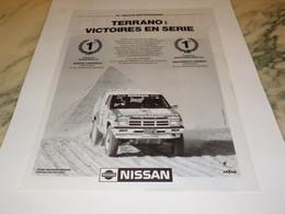 ANCIENNE PUBLICITE TERRANO VICTOIRE EN SERIE DE NISSAN 1991 - Cars