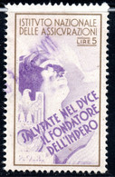 440.ITALY.WW II,FASCIST PERIOD,5 L.NATIONAL INSURANCE REVENUE,DUCE,EAGLE - Marcophilia