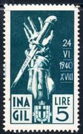441.ITALY.WW II,FASCIST PERIOD,5 L.NATIONAL INSURANCE REVENUE,DAGGER.JAMAIS - Marcophilia