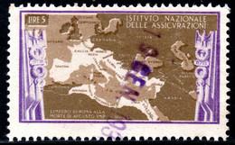 444.ITALY.WW II,FASCIST PERIOD,5 L.NATIONAL INSURANCE REVENUE,MAP OF ROMAN IMPERIUM - Marcophilia