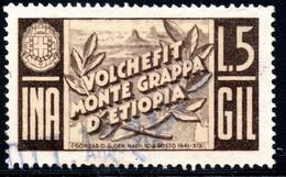 445.ITALY.WW II,FASCIST PERIOD,5 L.NATIONAL INSURANCE REVENUE,ETHIOPA.MONTE GRAPPA - Marcophilia