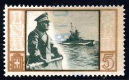 447.ITALY.WW II,FASCIST PERIOD,5 L.NATIONAL INSURANCE REVENUE,WARSHIP - Marcophilia