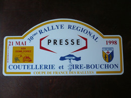 30ème Rallye Régional - 1998 - Asa Dôme Forez - Coutellerie E T Tire - Bouchons - Coupe De France Des Rallyes - Targhe Rallye