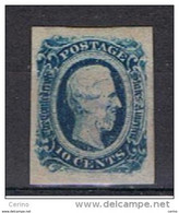 U.S.A. -  EMISSIONI  GENERALI:  1862/64  J. DAVIS  -  10 C. BLU  S.G. -  YV/TELL. 10 - Used Stamps